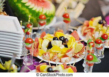buffet food closeup - buffed food closeup of fruits,...