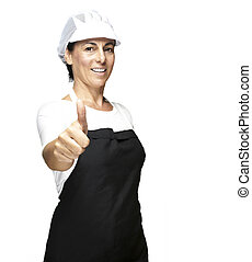 cook with mesh top hat - portrait of cook wearing apron and...