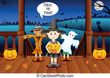 Kids in Halloween Costume - illustration of kids in costume...
