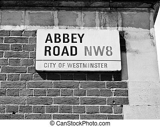 Abbey Road, London, UK - Abbey Road street sign, NW8,...