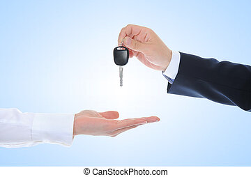 keys to the car - Businessman gives the keys to the car.
