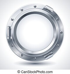 Porthole - Vector illustration - closed metallic porthole