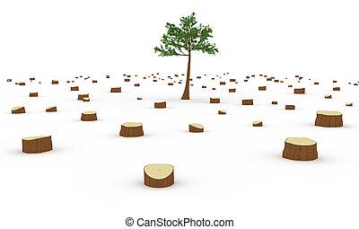 Deforestation concept