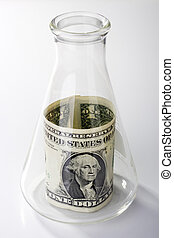 Research Money - A one dollar bill in an erlenmeyer flask on...