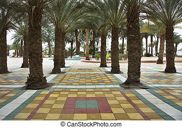 Palm trees on a marble - . Artly issued output on quay in...