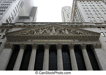 The New York Stock Exchange looms - The portal of the New...