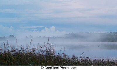 Birth of fog on the lake - Autumnal evening on the lake,...