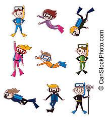 dessin animé, plongeur, icônes