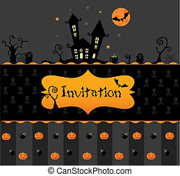 card halloween invitation - Vector halloween invitation card...