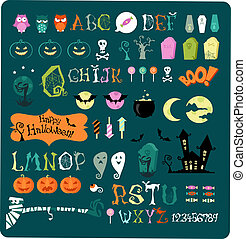 Big Halloween icon set for parties, posters and cards