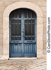French door - Iron door in blue color in the old part of...