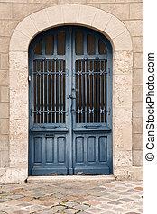 French door - Iron door in blue color in the old part of...
