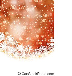 Orange winter background with snowflakes. EPS 8 - Abstract...