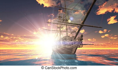Sailing boat - The sailing boat which goes on a voyage