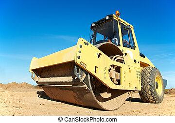Compactor at road compaction works - Heavy Vibration roller...