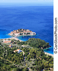 Sveti Stefan (St. Stefan) island-resort in Adriatic sea,...