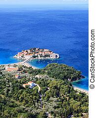 Sveti Stefan (St. Stefan) island-resort in Adriatic sea,...