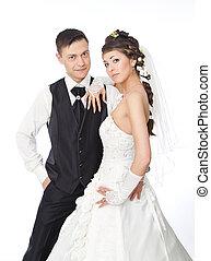 hermoso, posición, Moda, novia, pareja, novio, Plano de fondo, retoño, boda, blanco