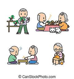 personne agee, illust, ensemble