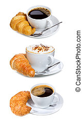 set with coffee and croissant on a white background