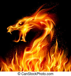 Fire Dragon - Abstract fiery dragon Illustration number two...