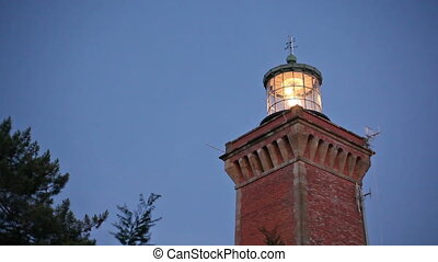 lighthouse illuminated - Hourtin brick lighthouse...