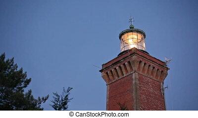 lighthouse illuminated - Hourtin brick lighthouse...