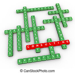Crossword of consulting - 3d render of crossword related to...