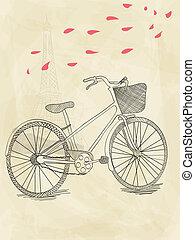 Ręka, pociągnięty, rower