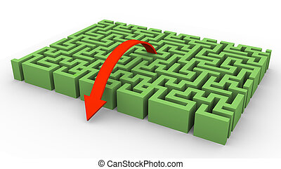 3d maze and arrow