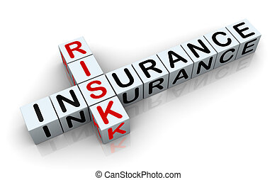 3d crossword of 'insurance risk' - 3d render of crossword...