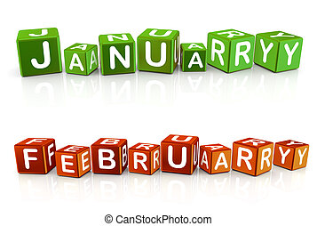 3d text box january and february - Set of 3d cube box...