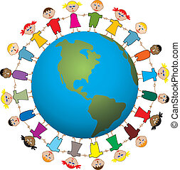 children around the world - vector illustration of children...