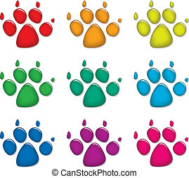 dog's foot prints - vector set of colorful dog's foot prints...