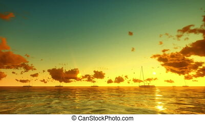 Yachts and Seagulls at Sunrise
