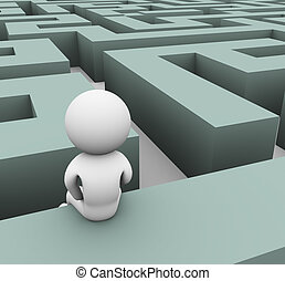 3d man lost in maze - 3d man finding path through maze