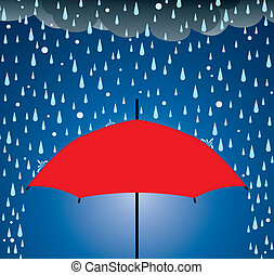umbrella protection from rain and hail - vector illustration...