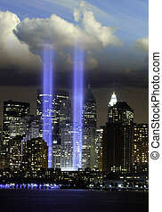 Lights of Twin Towers at Ground Zero, New York City