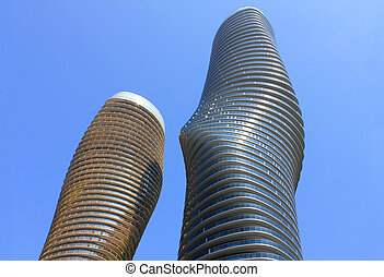 New twisty modern buildings in Mississauga Canada