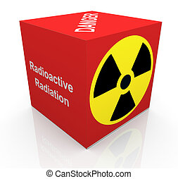 3d radiation symbol - 3d render of cube with radioactive...