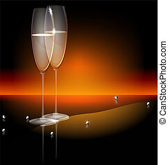 black background two glasses of champaghe - on a dark...