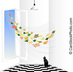 white room and black cat