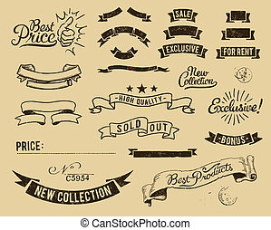 Vintage sale icons set - Vector file has 3 layers:...