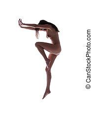 pelado, mulher, Dançar
