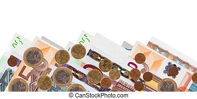 Border of euro banknotes - Border of many euro banknotes and...