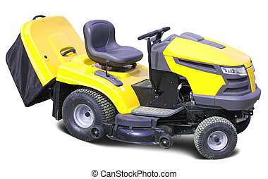 Yellow lawn mower over white - Yellow lawn mower Isolated...