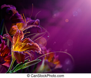 abstract floral background.With copy-space - Art Flowers on...