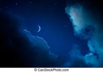 art, résumé, ciel, fond, nuit
