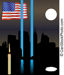Twin Towers memorial flag - Memorial Twin Towers with a flag...