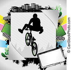 Abstract summer bmx poster - Abstract summer frame with bmx...